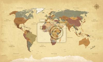 Fototapeta Planisphere Mappemonde Vintage - Nabídkové listy en français. vektor