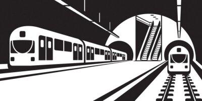 Fototapeta Platforma stanice metra s vlaky - vektorové ilustrace