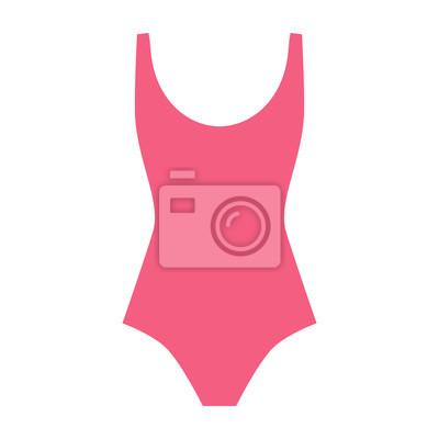 a264f6545eb Fototapeta Plavky ikonu vektoru - žena módní designový prvek. Růžová žena  plavky bytu styl.