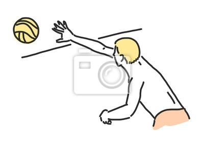 Plazovy Volejbal Kresleni Ilustrace V Ruznych Pozach Fototapeta