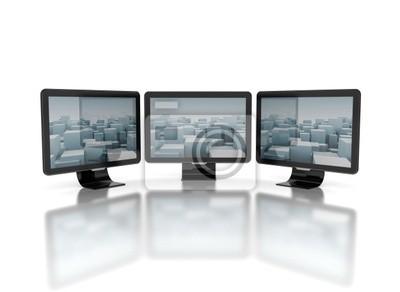 Fototapeta Ploché televizory na bílém