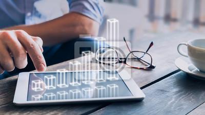 Fototapeta Podnikatel analyzuje rostoucí graf 3D AR nad obrazovkou tabletového počítače