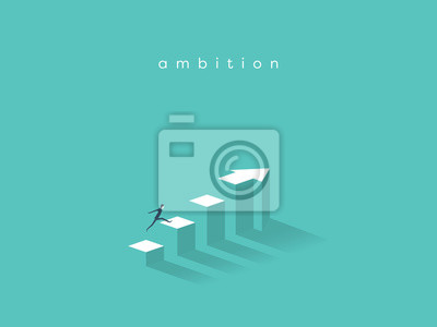 Fototapeta Podnikatel běžící na vrchol grafu. Obchodní koncepce cílů, úspěch, ambice, úspěch a výzva.