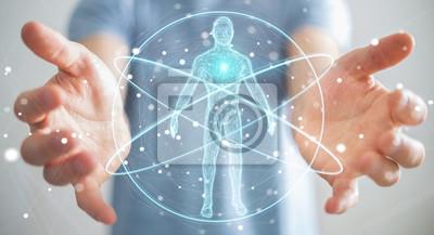 Fototapeta Podnikatel pomocí digitálního rentgenového rozhraní pro lidské tělo skenování 3D rendering