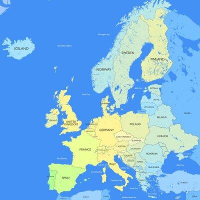 Fototapeta Podrobná mapa Evropy