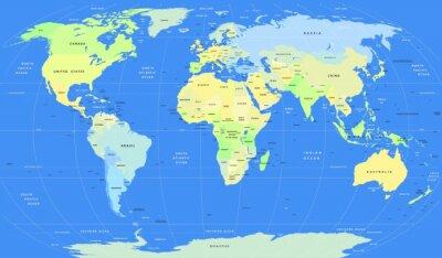 Fototapeta Podrobné vektorový politická World Map