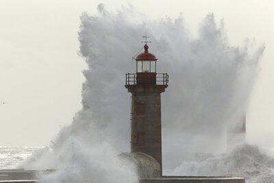 Fototapeta Podsvícený velká vlna bouřlivý