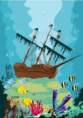 Fototapeta podvodní krajina se starými pirátské lodi