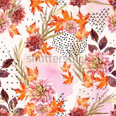 Fototapeta Podzimní akvarel květinové bezešvé vzor. Pozadí s dahlia květy, listy, geometrické tvary naplněné doodle strukturou. Ručně kreslený akvarel ilustrace umění pro návrh pádu.