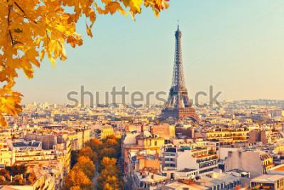 Fototapeta Pohled na Eiffelovu věž při západu slunce, Paříž, Francie