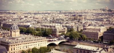 Fototapeta Pohled na Paříž tvoří katedrálu Notre Dame. Instagram styl nefiltrované image