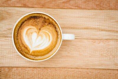 Fototapeta Pohled na srdce složené z kávy