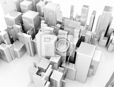 Pohled shora abstraktní 3d kovové město