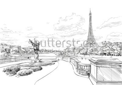 Fototapeta Pohled z mostu Le Pont de Bir-Hakeim na Eiffelovu věž. Paříž, Francie. Městská skica. Ručně kreslené vektorové ilustrace