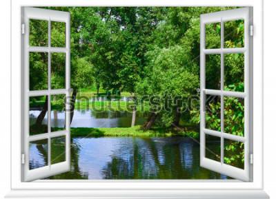 Fototapeta pohled z okna v těle vody a strom v létě