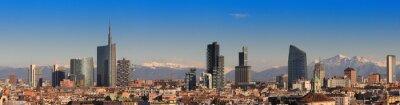Fototapeta Pohledy na Milána s Alpami v pozadí