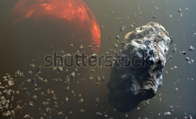Fototapeta Pole asteroidů nebo meteoritů ve vesmíru, tvorba planet. 3d ilustrace