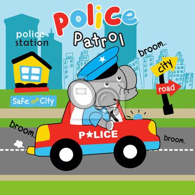 Policie Ve Sluzbe Kresleny Vektor Fototapeta Fototapety Myloview Cz
