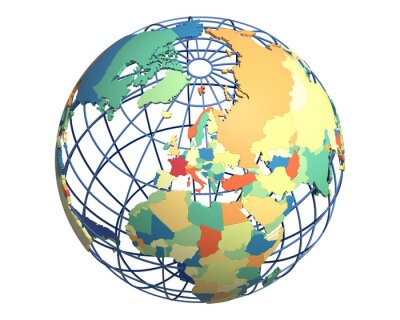 Fototapeta Politická Globe, se soustředil na Evropu