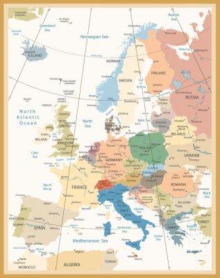 Fototapeta Politická mapa Evropy retro barvách