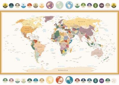 Fototapeta Politická mapa světa s plochými ikonami a globes.Vintage barev.
