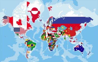 Fototapeta politická mapa světa s vlajkami zemí.