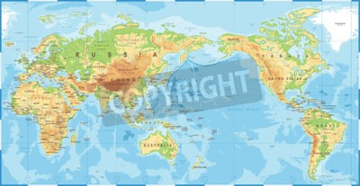 Fototapeta Politické fyzické topografické barevné mapa světa pacific střed vektorové ikony.