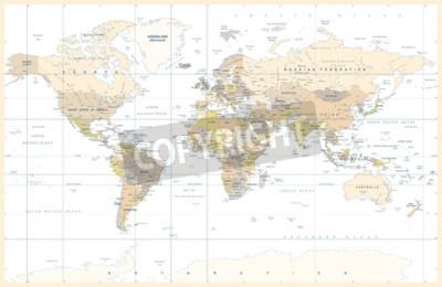 Fototapeta Politické Fyzické Topografické Barevné Mapy světa Vektorové ilustrace