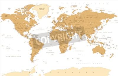 Fototapeta Politické vinobraní zlatý svět mapa vektorové ilustrace.