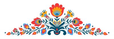Fototapeta Polská lidová papercut styl květiny