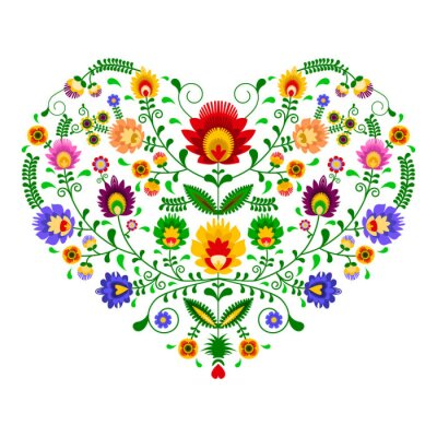 Fototapeta Polski folklor - wzór w kształcie serca