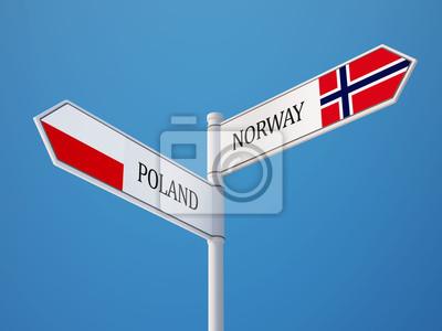 Polsko Norsko Znamení Vlajky Concept