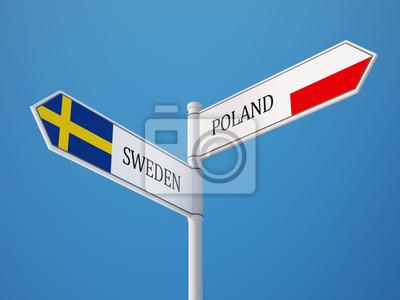 Polsko Švédsko Znamení Vlajky Concept