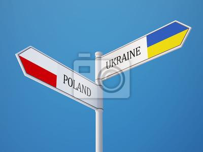 Polsko Ukrajina Znamení Vlajky Concept