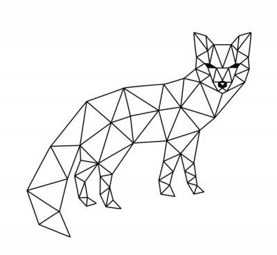 Fototapeta polygonální fox