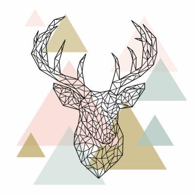 Fototapeta Polygonální jelení hlavy portrétu. Skandinávský styl. Vektorové ilustrace.