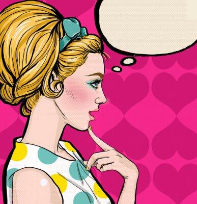 Fototapeta Pop Art  blond girl in profile with the speech bubble.