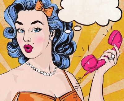 Fototapeta Pop Art dívka s bublinu a retro telefon.