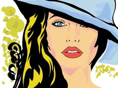 Fototapeta pop art femme chapeau visage,tête