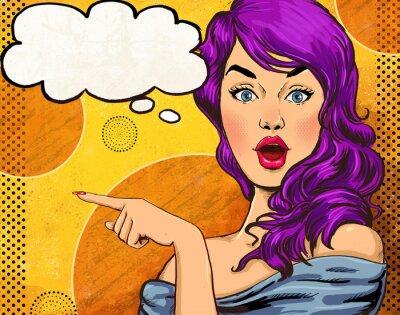 Fototapeta Pop Art ilustrace dívka s řeči bubble.Fashion