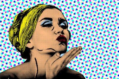 Fototapeta Pop art komiksové žena, retro plakát