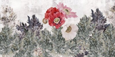 Fototapeta Poppies flowers illustration. Poppies painted on the grunge wall. Beautiful design for card, postcard, picture, mural, wallpaper, photo wallpaper.
