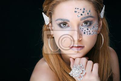 Fototapeta Portrét sexuální krásná dívka s strasses na obličej