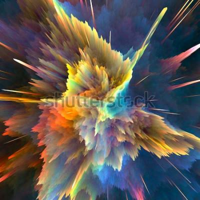 Fototapeta Pozadí abstraktní barevné exploze. Closeup, hi-res ilustrace pro vaši brožuru, leták, bannerové vzory a další projekty. Efekt světelného výbuchu. 3D vykreslování obrázku.
