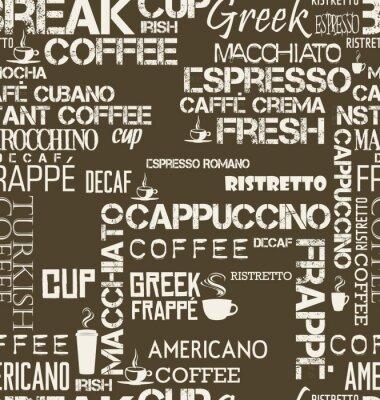 Fototapeta Pozadí bezešvé dlaždice kávy slova a symboly