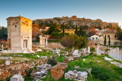 Fototapeta Pozůstatky římského agora a Akropole v Aténách, Řecko.