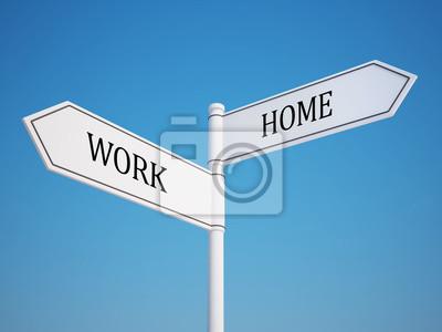 Práce a domácí rozcestník s ořezovou cestou