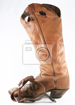 Práce kovbojské boty s ostruhy fototapeta • fototapety bez sedla ... 06cc76fae8
