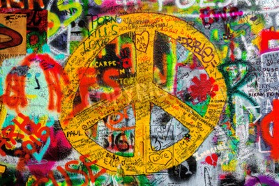 Fototapeta PRAGUE, CZECH REPUBLIC - MAY 21, 2015: Peace Sign on Famous John Lennon Wall on Kampa Island in Prague filled with Beatles inspired graffiti and lyrics since the 1980s.