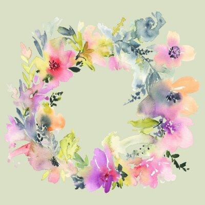 Fototapeta Přání s květinami. Pastelové barvy. Ruční. Akvarelu. Svatba, narozeniny, Den matek. Svatební sprcha.